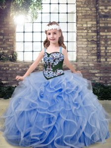 Light Blue Ball Gowns Embroidery and Ruffles Little Girls Pageant Dress Lace Up Tulle Sleeveless Floor Length