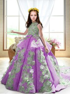 High-neck Sleeveless Court Train Backless Girls Pageant Dresses Lilac Satin