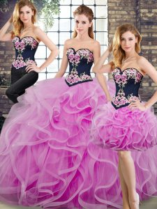 Lilac Sleeveless Beading and Embroidery and Ruffles Lace Up Quinceanera Dresses