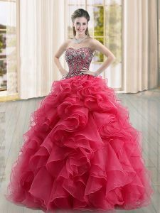 Coral Red Ball Gowns Sweetheart Sleeveless Organza Floor Length Lace Up Beading and Ruffles Sweet 16 Dresses