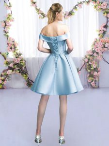 Ideal Off The Shoulder Sleeveless Lace Up Vestidos de Damas Light Blue Satin