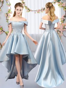 Light Blue Sleeveless Satin Lace Up Quinceanera Court Dresses for Prom and Party and Wedding Party