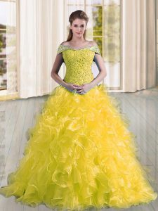Noble Yellow Quinceanera Gown Off The Shoulder Sleeveless Sweep Train Lace Up