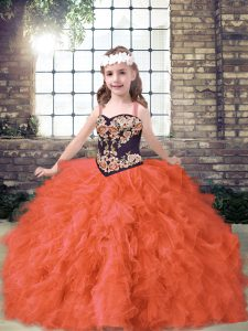 High Quality Orange Red Little Girls Pageant Gowns Party and Wedding Party with Embroidery and Ruffles Straps Sleeveless Lace Up
