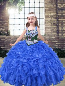 Ball Gowns Pageant Gowns For Girls Blue Straps Organza Sleeveless Floor Length Lace Up