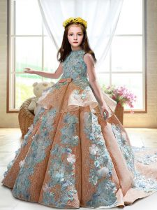 Eye-catching Peach High-neck Neckline Appliques Little Girls Pageant Dress Wholesale Sleeveless Backless