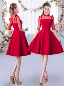 Fashionable Red High-neck Zipper Ruching Court Dresses for Sweet 16 Half Sleeves
