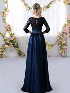 Free and Easy Navy Blue Quinceanera Dama Dress Prom and Party and Wedding Party with Lace Scoop 3 4 Length Sleeve Zipper