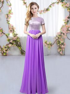Scoop Short Sleeves Vestidos de Damas Floor Length Sequins Purple Chiffon