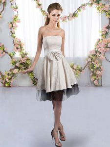 Pretty Tulle Sleeveless Knee Length Dama Dress for Quinceanera and Bowknot