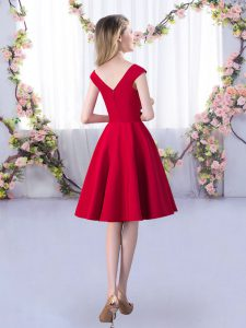 Red Cap Sleeves Ruching Knee Length Quinceanera Dama Dress