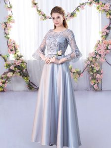 Silver A-line Satin Scoop 3 4 Length Sleeve Lace Floor Length Lace Up Quinceanera Court of Honor Dress