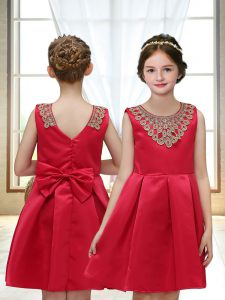Discount Scoop Sleeveless Satin Toddler Flower Girl Dress Appliques Zipper
