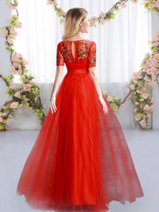 Super Appliques Damas Dress Red Zipper Short Sleeves Floor Length