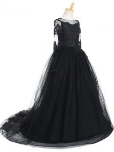 Long Sleeves Tulle Brush Train Clasp Handle Pageant Gowns For Girls in Black with Lace