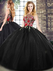 Fashionable Black Sleeveless Embroidery Floor Length Sweet 16 Dress