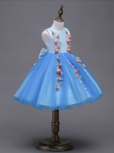 Scoop Sleeveless Zipper Toddler Flower Girl Dress Blue Tulle