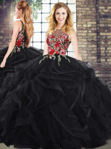 Delicate Sleeveless Vestidos de Quinceanera and Embroidery and Ruffles