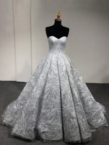 Silver Sleeveless Sequins Floor Length Ball Gown Prom Dress