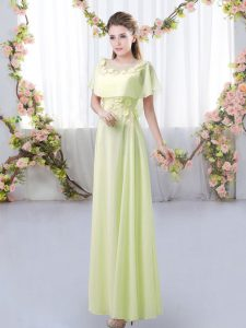 Discount Yellow Green Short Sleeves Chiffon Zipper Damas Dress for Prom and Party and Wedding Party