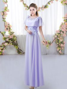 Lavender Short Sleeves Floor Length Appliques Zipper Quinceanera Dama Dress