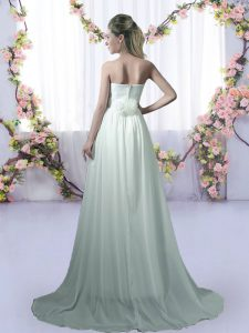 Brush Train Empire Court Dresses for Sweet 16 Apple Green Strapless Chiffon Sleeveless