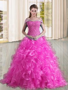 Fuchsia A-line Organza Off The Shoulder Sleeveless Beading and Lace and Ruffles Lace Up 15th Birthday Dress Sweep Train