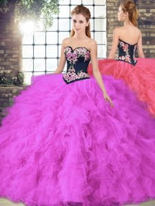 Sleeveless Floor Length Beading and Embroidery Lace Up Quince Ball Gowns with Fuchsia