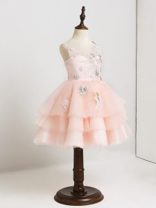 New Style V-neck Sleeveless Tulle Flower Girl Dress Appliques Zipper