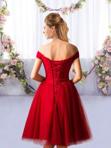 Trendy Off The Shoulder Sleeveless Damas Dress Knee Length Ruching Red Tulle