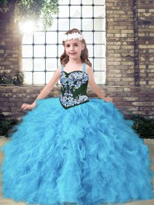 Baby Blue Lace Up Little Girl Pageant Dress Embroidery and Ruffles Sleeveless Floor Length