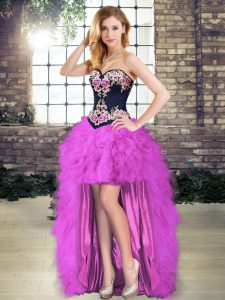 Fuchsia Lace Up Sweetheart Beading and Embroidery Sweet 16 Quinceanera Dress Tulle Sleeveless