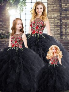 Pretty Floor Length Black Quinceanera Dress Scoop Sleeveless Zipper