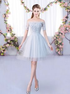 Grey Short Sleeves Lace Mini Length Dama Dress for Quinceanera