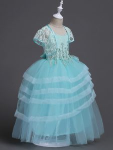 Sleeveless Tulle Floor Length Zipper Toddler Flower Girl Dress in Aqua Blue with Appliques
