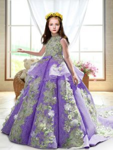 Discount High-neck Sleeveless Court Train Backless Girls Pageant Dresses Lavender Satin