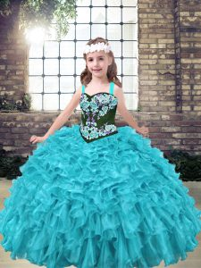 Discount Aqua Blue and Turquoise Sleeveless Floor Length Embroidery and Ruffles Lace Up Girls Pageant Dresses