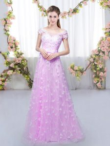 Superior Floor Length Lace Up Court Dresses for Sweet 16 Lilac for Prom and Party and Wedding Party with Appliques