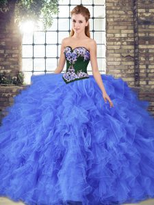 New Arrival Sweetheart Sleeveless Lace Up 15 Quinceanera Dress Blue Tulle