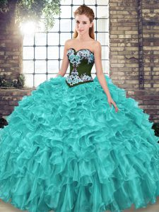 Exceptional Sweetheart Sleeveless Ball Gown Prom Dress Sweep Train Embroidery and Ruffles Turquoise Organza