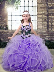 Most Popular Floor Length Lace Up Kids Formal Wear Lavender for Party and Wedding Party with Embroidery and Ruffles