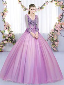 On Sale Long Sleeves Lace Up Floor Length Lace and Appliques Quince Ball Gowns
