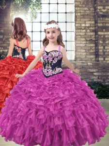 Customized Fuchsia Straps Neckline Embroidery and Ruffled Layers Girls Pageant Dresses Sleeveless Lace Up