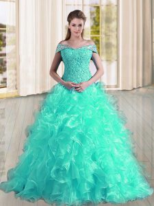 Attractive A-line Sleeveless Turquoise Quinceanera Dress Sweep Train Lace Up