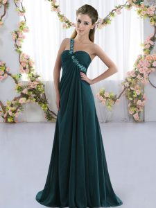 Elegant Sleeveless Chiffon Brush Train Lace Up Quinceanera Dama Dress in Peacock Green with Beading