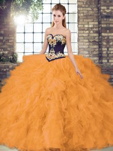 Orange Lace Up Sweetheart Beading and Embroidery Vestidos de Quinceanera Organza Sleeveless