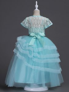 Hot Sale Tulle Sleeveless Floor Length Flower Girl Dresses for Less and Appliques and Ruffled Layers