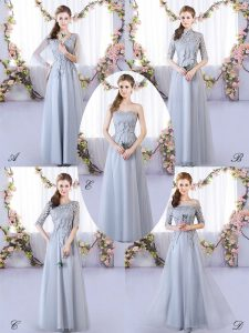 Hot Sale Sleeveless Floor Length Appliques Lace Up Damas Dress with Grey