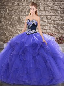 Sophisticated Floor Length Purple Quinceanera Gown Sweetheart Sleeveless Lace Up