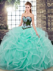 New Style Lace Up Sweet 16 Quinceanera Dress Aqua Blue for Military Ball and Sweet 16 and Quinceanera with Embroidery and Ruffles Sweep Train